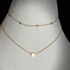 Double Layer Gold Necklace with heart.